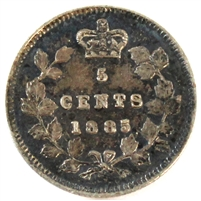 1885 Large 5 Canada 5 Cents Extra Fine (EF-40)