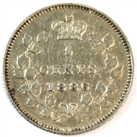 1886 Large 6 Repunched 1 and 6 Canada 5 Cents Extra Fine (EF-40) $
