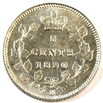 1890H Canada 5 Cents UNC+ (MS-62)