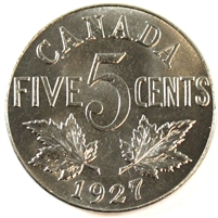 1927 Canada 5 Cents Choice Brilliant Uncirculated (MS-64) $