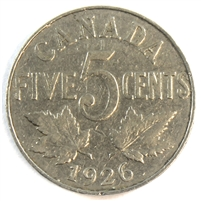 1926 Far 6 Canada 5 Cents Very Good (VG-8)
