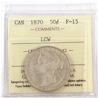 1870 LCW Canada 50-cents ICCS Certified F-15