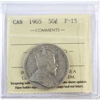 1905 Canada 50-cents ICCS Certified F-15