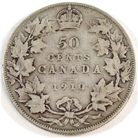 1910 Edwardian Leaves Canada 50-cents Very Good (VG-8)