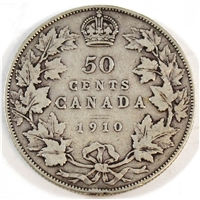 1910 Edwardian Leaves Canada 50-cents VG-F (VG-10)