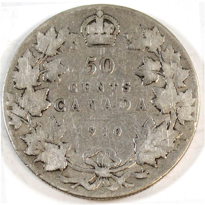 1910 Victorian Leaves Canada 50-cents Very Good (VG-8)