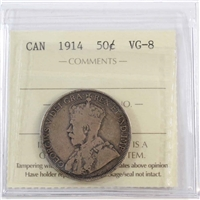 1914 Canada 50-cents ICCS Certified VG-8