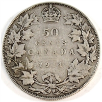 1914 Canada 50-cents VG-F (VG-10) $