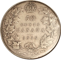 1916 Canada 50-cents F-VF (F-15)
