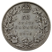 1916 Canada 50-cents Very Good (VG-8)