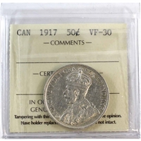 1917 Canada 50-Cents ICCS Certified VF-30