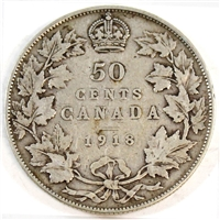 1918 Canada 50-cents Very Good (VG-8)