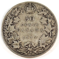 1919 Canada 50-cents Very Good (VG-8)