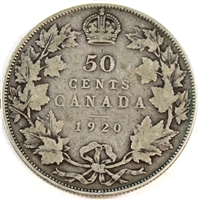 1920 Small 0 Canada 50-cents Very Good (VG-8)