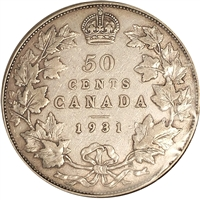 1931 Canada 50-cents F-VF (F-15) $