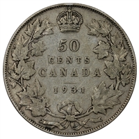 1931 Canada 50-cents Very Good (VG-8)