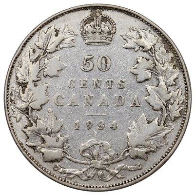 1934 Canada 50-cents VG-F (VG-10) $