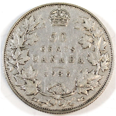 1936 Canada 50-cents F-VF (F-15) $