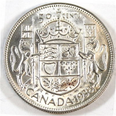 1938 Canada 50-cents Almost Uncirculated (AU-50) $