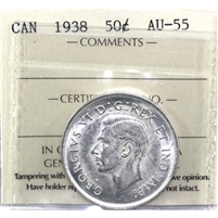 1938 Canada 50-cents ICCS Certified AU-55