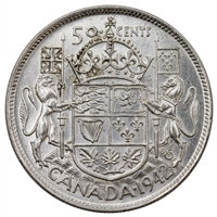 1942 Canada 50-cents Almost Uncirculated (AU-50)