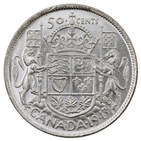 1943 Near 3 Canada 50-cents Brilliant Uncirculated (MS-63) $