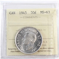 1945 Canada 50-cents ICCS Certified MS-63 (XUM 337)