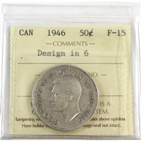 1946 Canada 50-cents ICCS Certified F-15 Design in 6