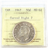 1947 Curved Right 7 Canada 50-cents ICCS Certified MS-62 (XSD 528)