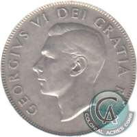 1947 Curved 7 Canada 50-cents Very Fine (VF-20)