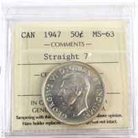 1947 Canada 50-cents ICCS Certified MS-63 Straight 7 (XCE 565)