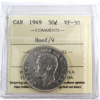 1949 Hoof Over 9 Canada 50-cents ICCS Certified VF-30