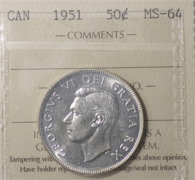 1951 Canada 50-cents ICCS Certified MS-64