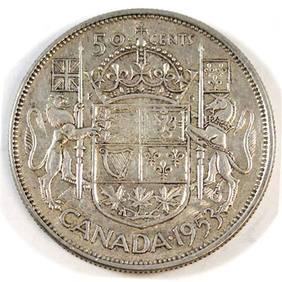 1953 Large Date NSS Canada 50-cents Very Fine (VF-20)