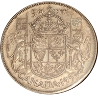 1953 Large Date SS Canada 50-cents F-VF (F-15)