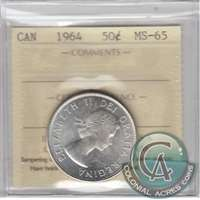 1964 Canada 50-cents ICCS Certified MS-65