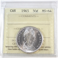 1965 Canada 50-cents ICCS Certified MS-64