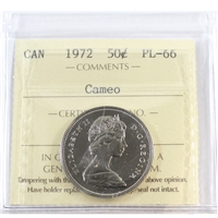 1972 Canada 50-cents ICCS Certified PL-66 Cameo