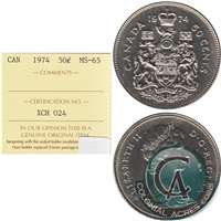 1974 Canada 50-cents ICCS Certified MS-65