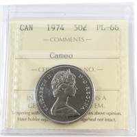 1974 Canada 50-cents ICCS Certified PL-66 Cameo