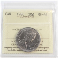 1980 Canada 50-cents ICCS Certified MS-66