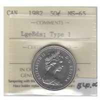 1982 Canada 50-cents ICCS Certified MS-65 Large Beads; Type 1