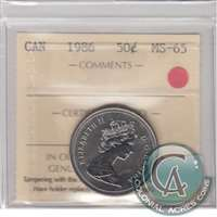 1986 Canada 50-cents ICCS Certified MS-65