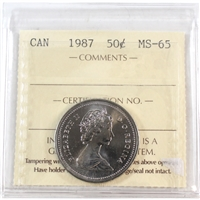 1987 Canada 50-cents ICCS Certified MS-65