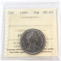 1989 Canada 50-cents ICCS Certified MS-65