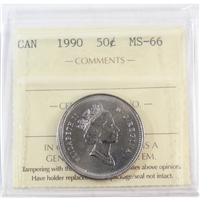 1990 Canada 50-cents ICCS Certified MS-66