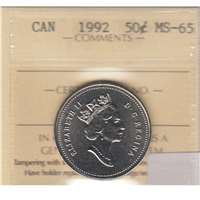 1992 Canada 50-cents ICCS Certified MS-65