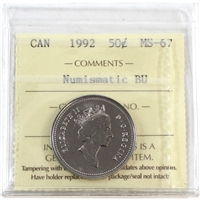 1992 Canada 50-cents ICCS Certified MS-67 Numismatic BU