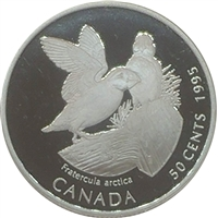 1995 Canada Atlantic Puffins (Fratercula arctica) 50-cents Silver Proof_