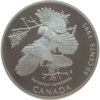 1995 Canada Gray Jays (Perisoreus canadensis) 50-cents Silver Proof_